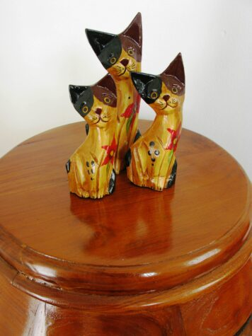 Cookie the wooden cat set